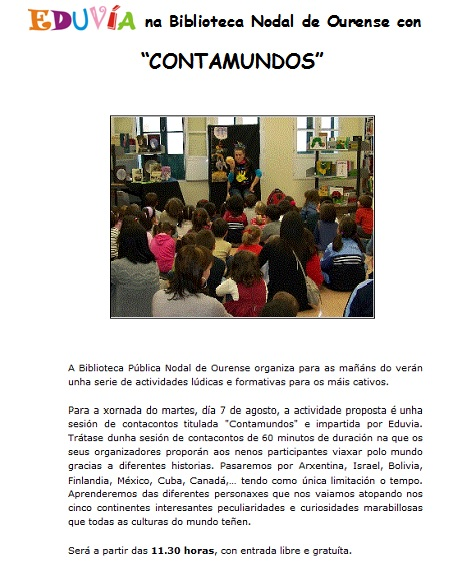CONTAMUNDOS DE EDUVIA EN BIBLIOTECA OURENSE