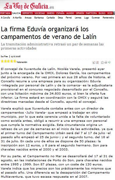 EDUVIA XESTIONA CAMPAMENTOS DE VERAN 2008 LALIN